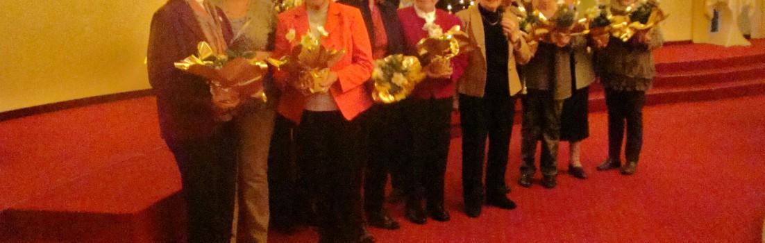Die Jubilarinnen, die für 20,25, 30 und 40 Jahre Mitgliedschaft geehrt wurden